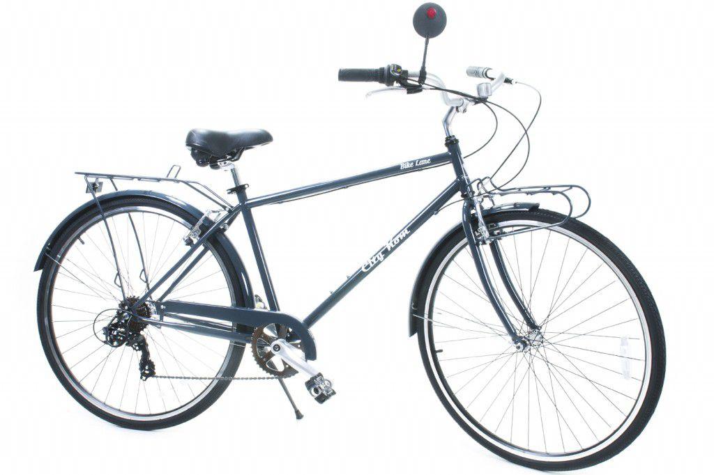 Bicicleta Masculina Aro 700 City Kom 7 Vel. - Com Bagageiro