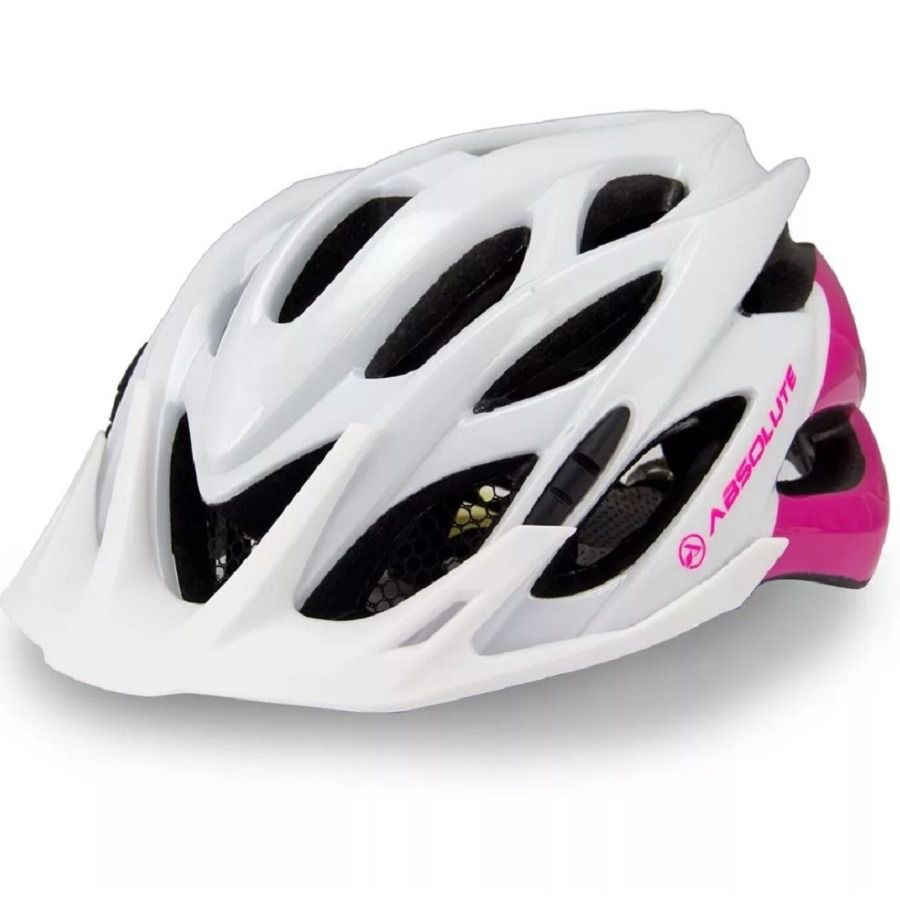 Capacete Ciclismo Bike Absolute Mia PiscaLed Branco/Rosa