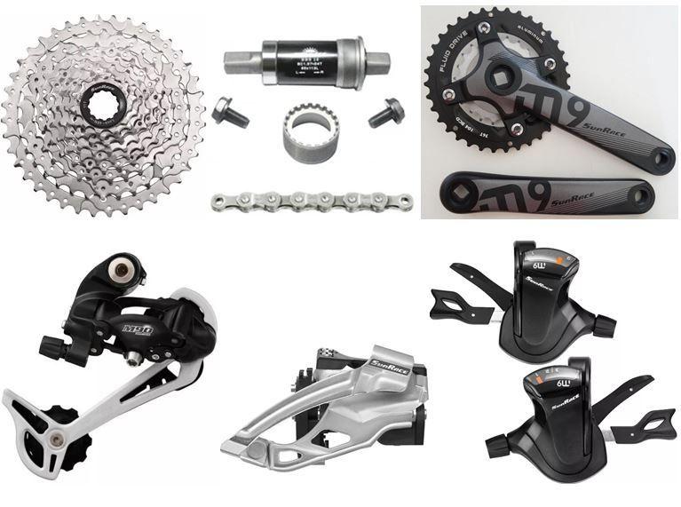 Kit Transmissão Sunrace 9v 18v Grupo Completo Bike (7 Peças)