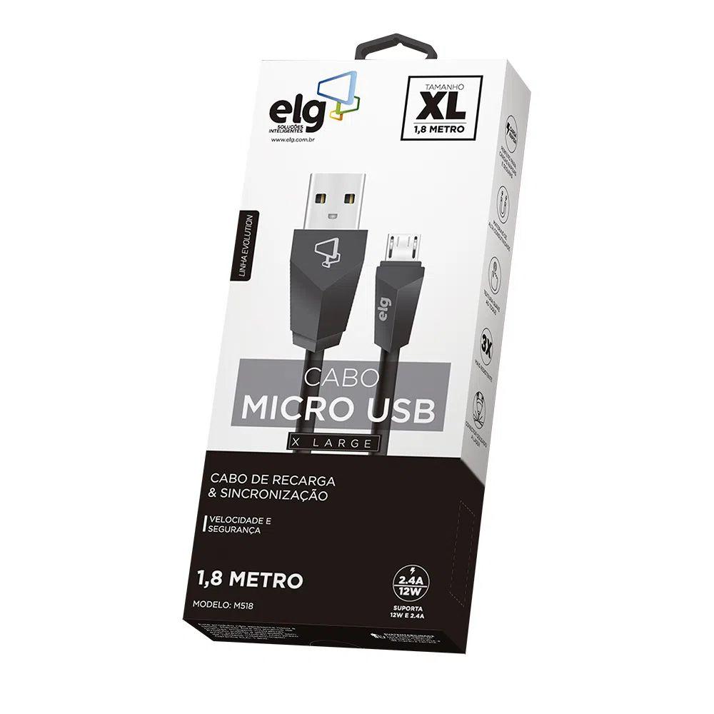 Cabo Micro USB 1,8m ELG - M518