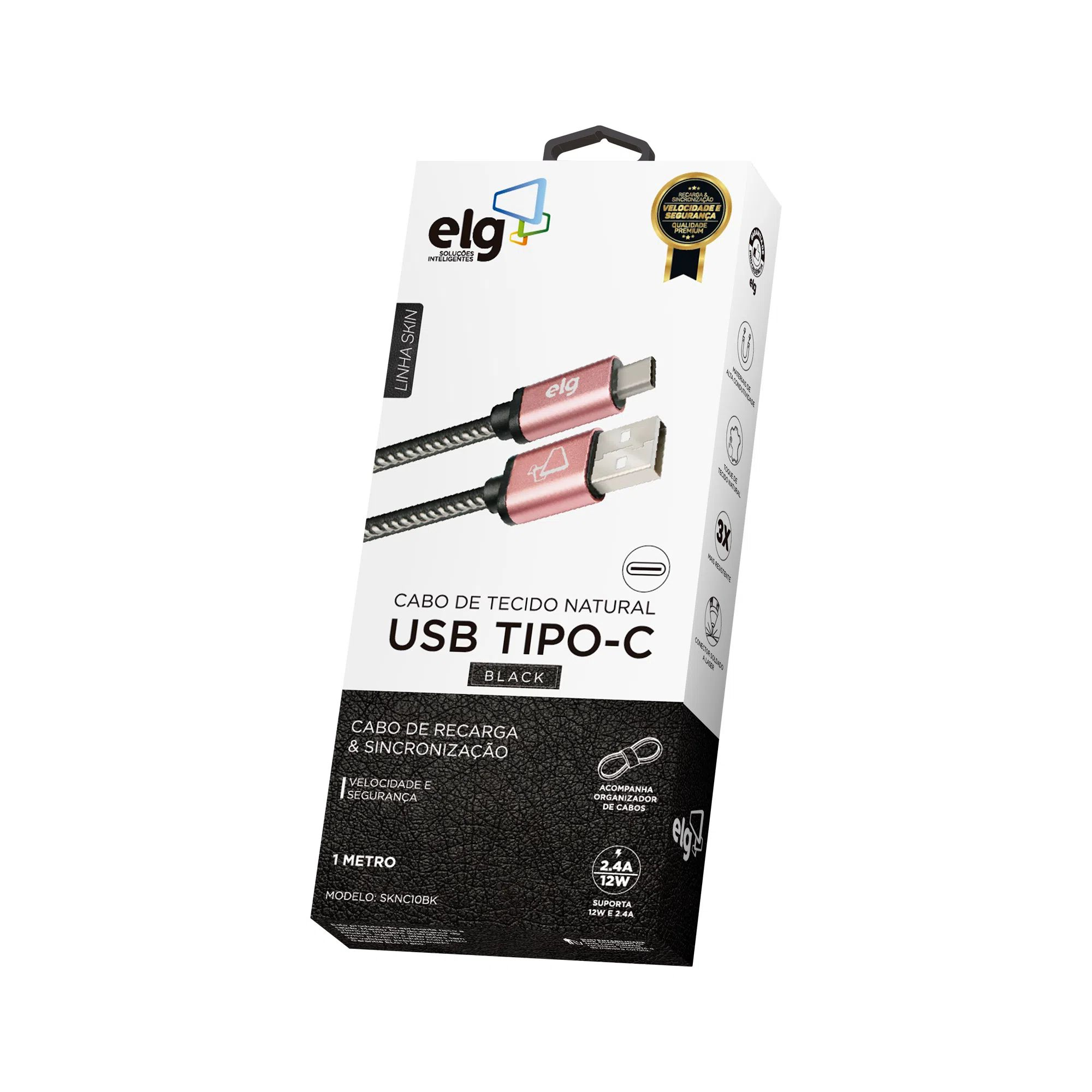 Cabo Tipo C 2.4A Couro ELG - SKNC10BK