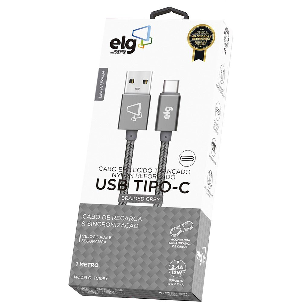 Cabo Tipo C 2.4A Nylon ELG - Cinza TC10BY