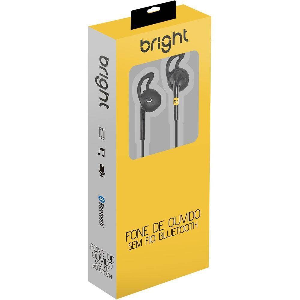 Fone de Ouvido Bluetooth Bright 0481 Sport - Preto estéreo com microfone