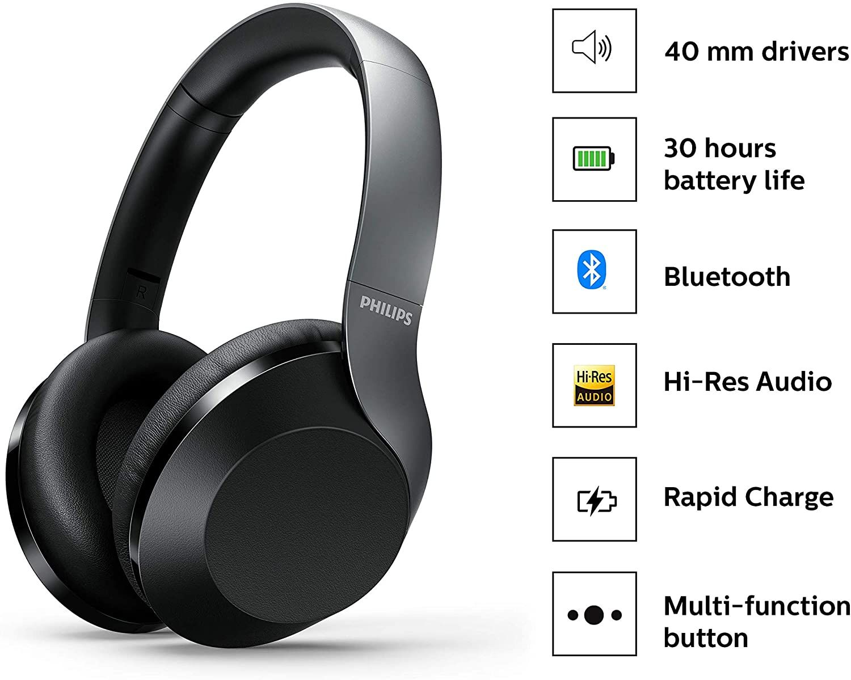 Fone de Ouvido Bluetooth Philips TAPH802BK/00 - Preto
