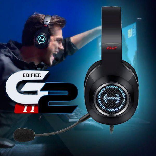 Fone de Ouvido Gamer 7.1 Virtual Edifier G2 II PC, PS4 e Xbox - Preto com Vermelho G2II-BK