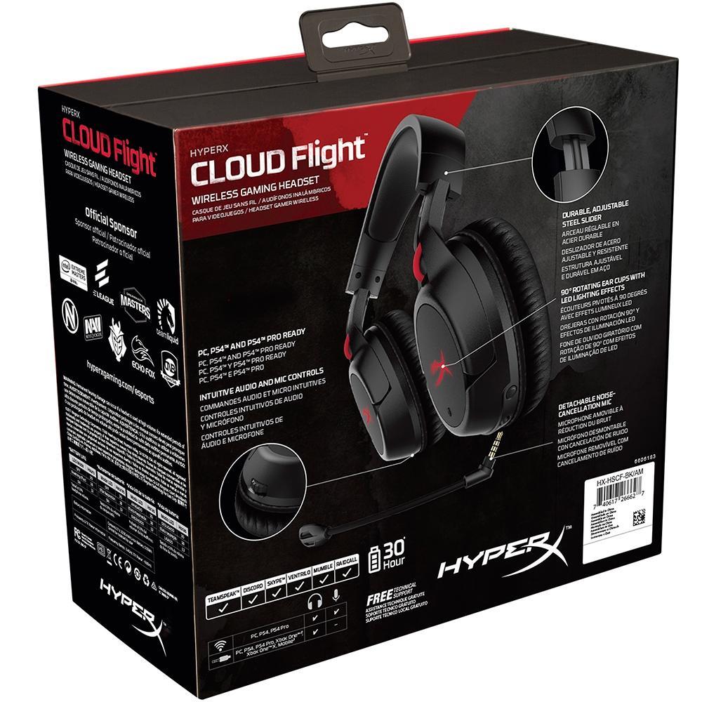 Headset Gamer Sem Fio HyperX Cloud Flight - HX-HSCF-BK/AM