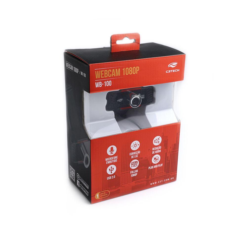 Webcam C3Tech FullHD 1080p - WB-100BK