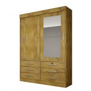 Guarda Roupa Solteiro com Espelho, 2 Portas e 6 Gavetas Sonare Gold Novo Horizonte