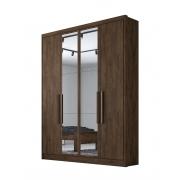Guarda Roupa Solteiro com Espelho, 4 Portas e 3 Gavetas Moderni Novo Horizonte