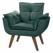 Poltrona Decorativa Opala Verde para sala de estar quarto escritório