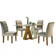 Sala de Jantar Belle com 4 Cadeiras Dakota  Cel Móveis
