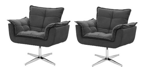 Kit 2 Cadeiras Decorativas Opala Cinza Base Giratória