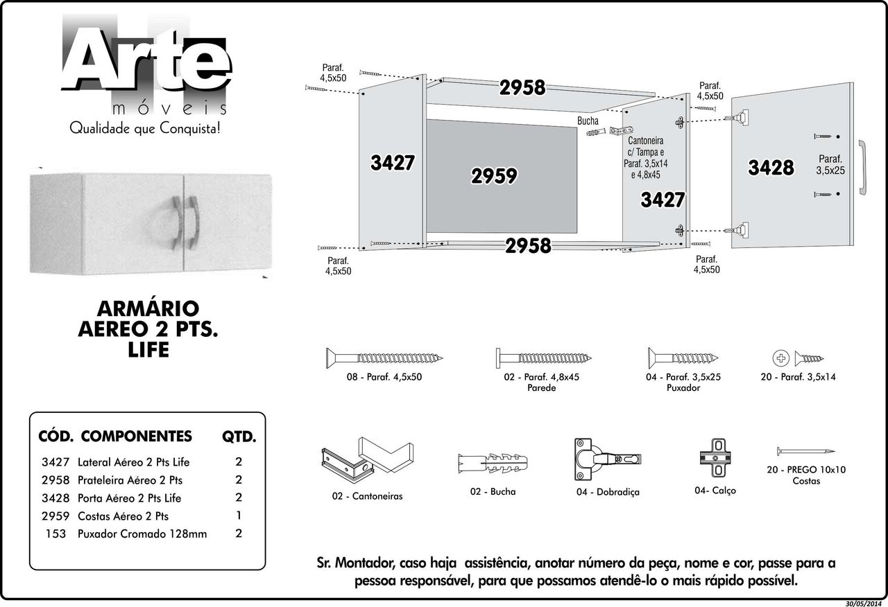 Armário Aéreo Life 2 Portas