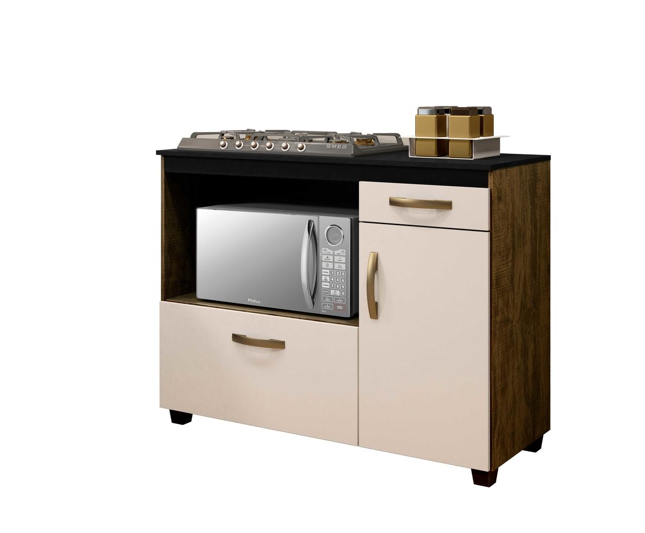 Balcão de Cozinha para Cooktop 5 Bocas 2 Portas 1 Gaveta Cronos Arte Móveis