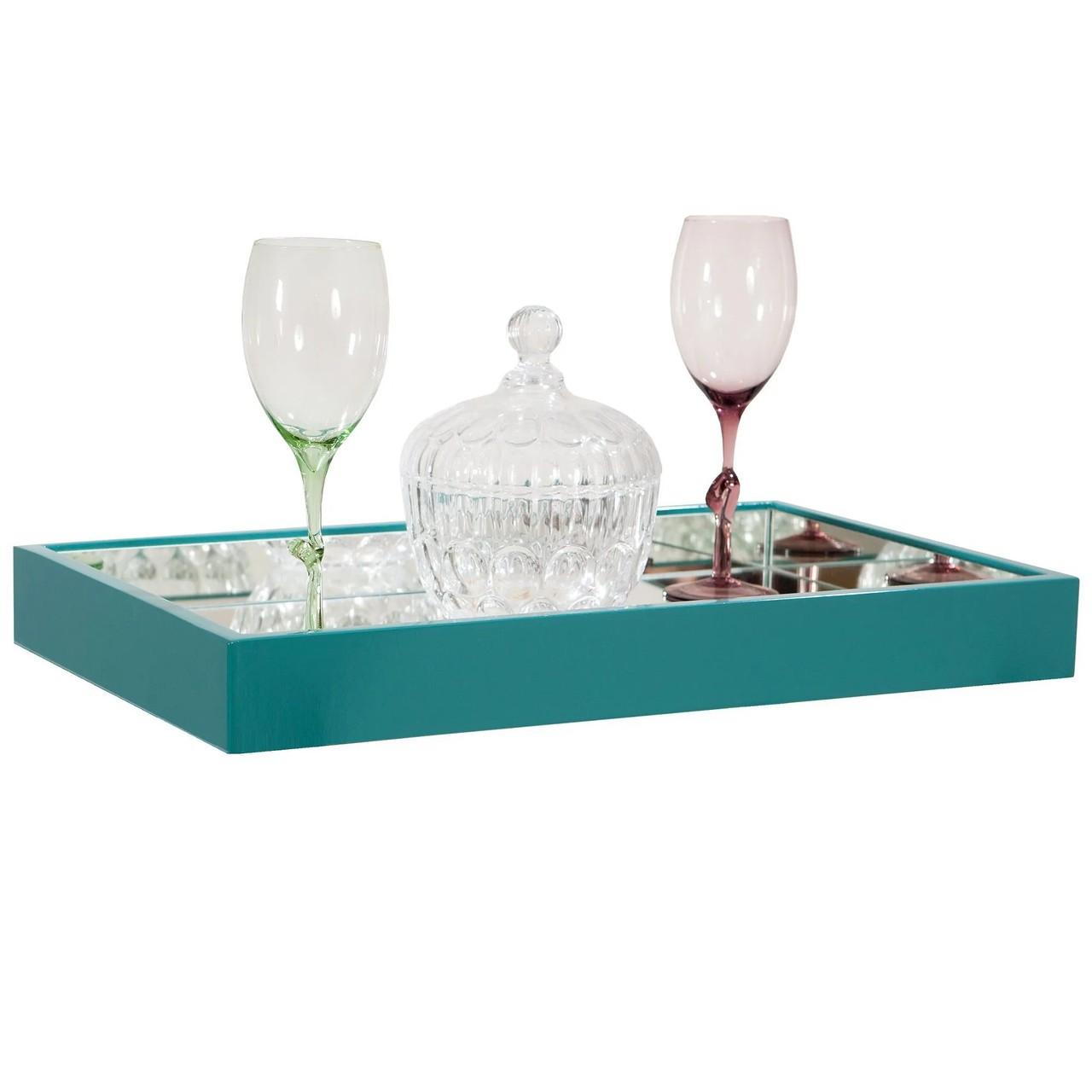 Bandeja espelhada decorativa para servir sala de jantar