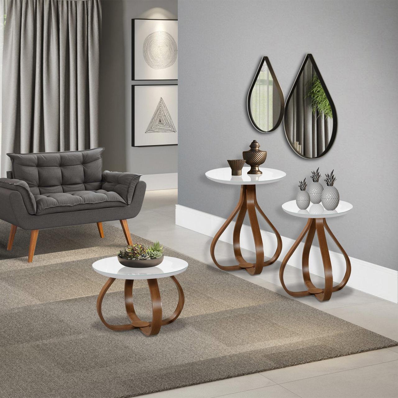 Conjunto de mesas decorativas Bella para canto e centro sala