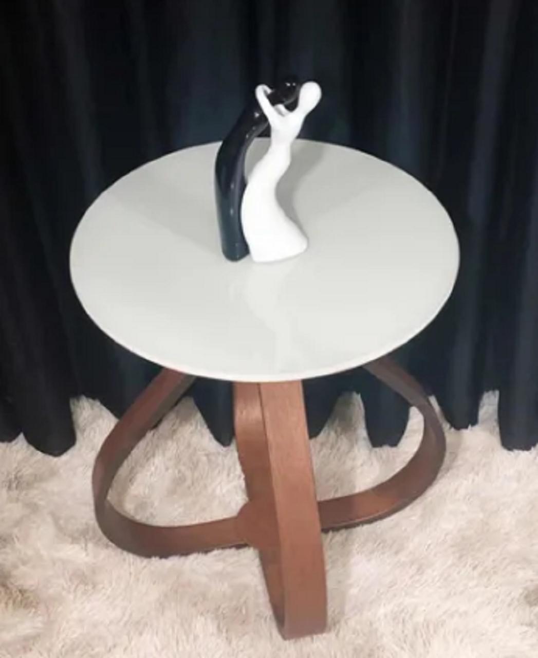 Mesa de Canto Bella Redonda Off White. Base de 60 cm