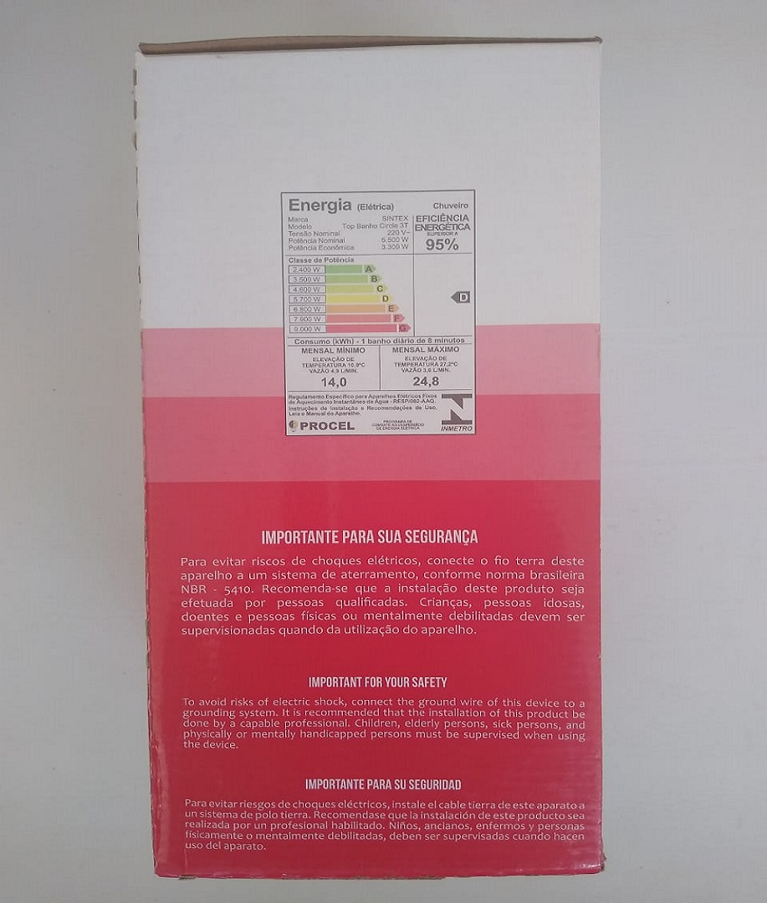 Ducha Top Banho Circle 3 Temperaturas da Sintex 220V~/5500W