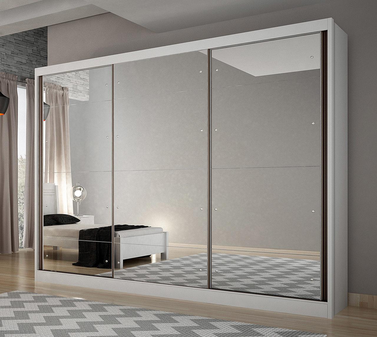 Guarda Roupa Casal 3 Portas com Espelho e 8 Gavetas Passion Novo Horizonte
