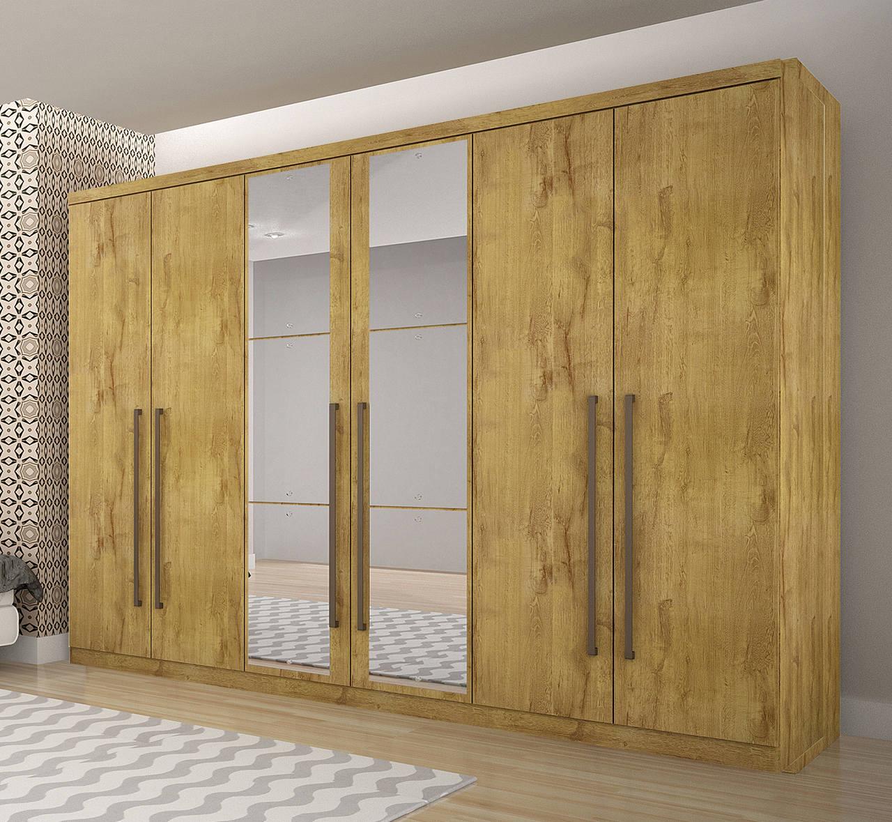 Guarda Roupa Casal com Espelho, 6 portas e 6 Gavetas Bari Novo Horizonte