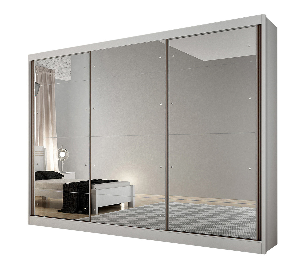 Guarda Roupa Casal 3 Portas com Espelho e 6 Gavetas Passion Novo Horizonte