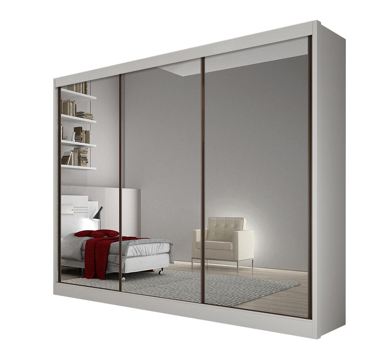 GuarRoupa Casal com 3 Portas Espelhadas e 6 Gavetas Diamond Novo Horizonte