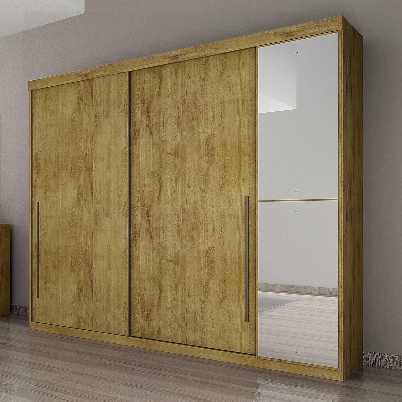 Guarda Roupa Casal com Espelho, 3 Portas e 4 Gavetas Scarpa Gold Novo Horizonte