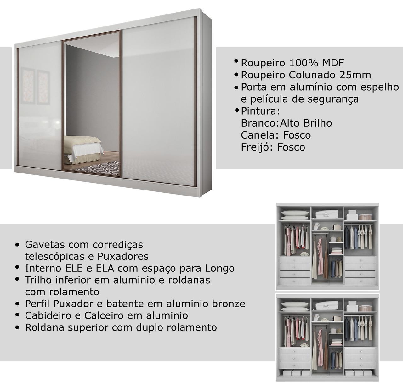 Guarda Roupa Casal com Espelho 3 Portas 8 Gavetas Spazzio Novo Horizonte