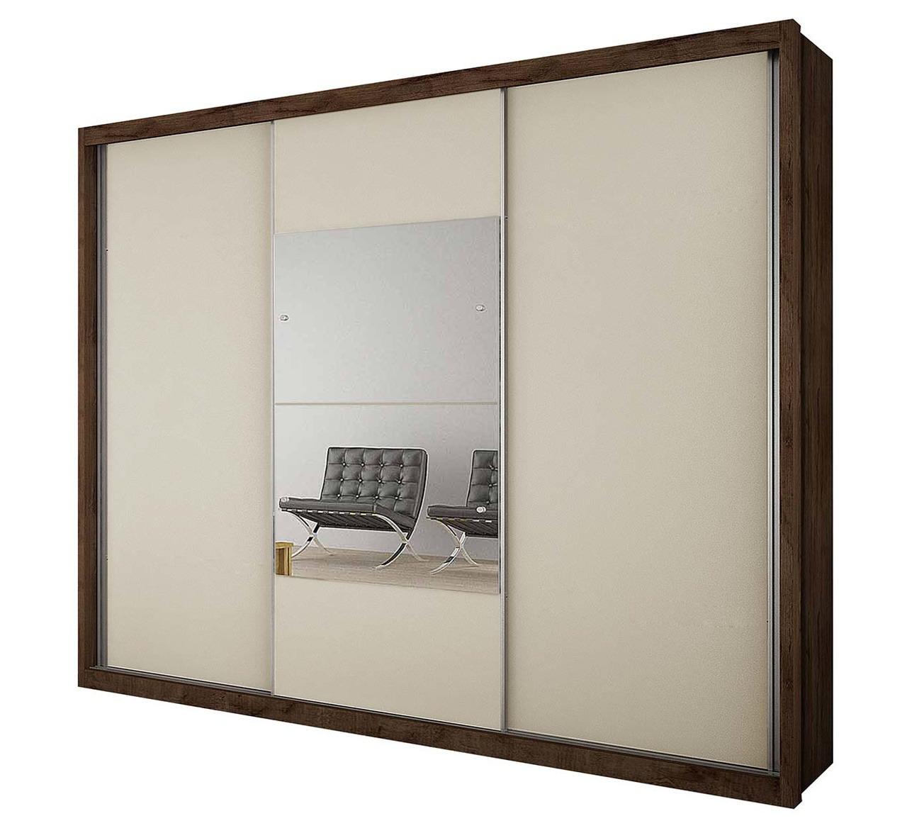 Guarda Roupa Casal com Espelho 3 Portas de Correr Arezzo Gold Novo Horizonte