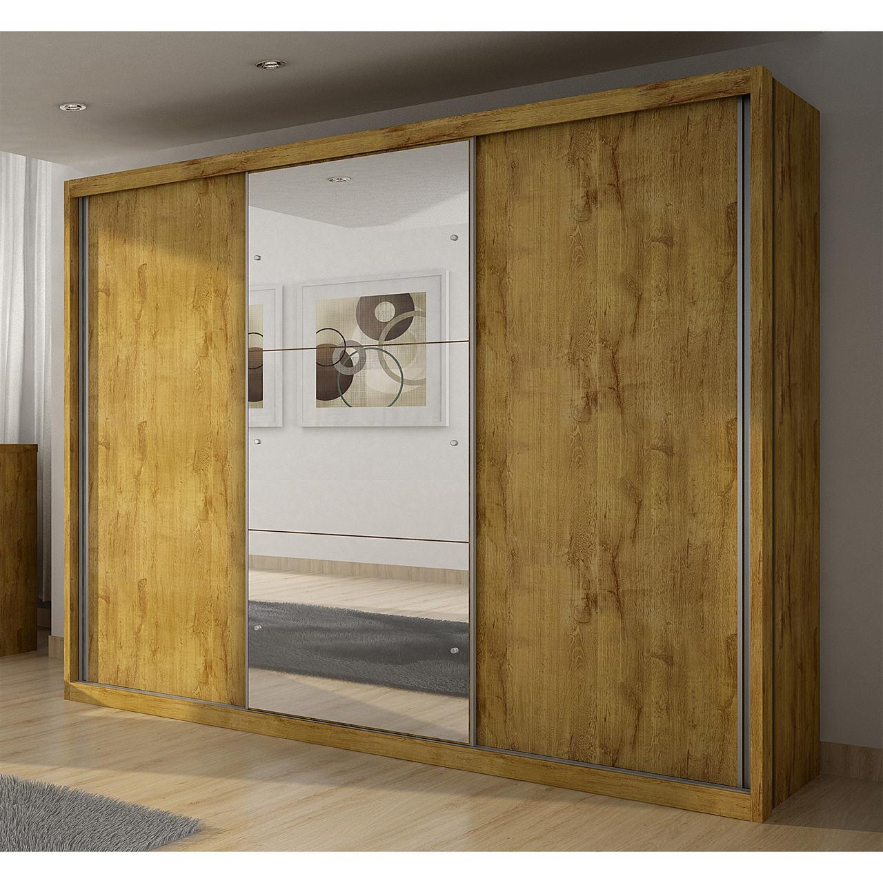 Guarda Roupa Casal com Espelho, 3 Portas de Correr e 4 Gavetas Paradizzo Gold Novo Horizonte