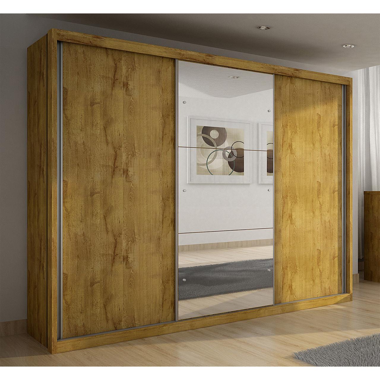 Guarda Roupa Casal com Espelho, 3 Portas de Correr e 6 Gavetas Paradizzo Gold Novo Horizonte