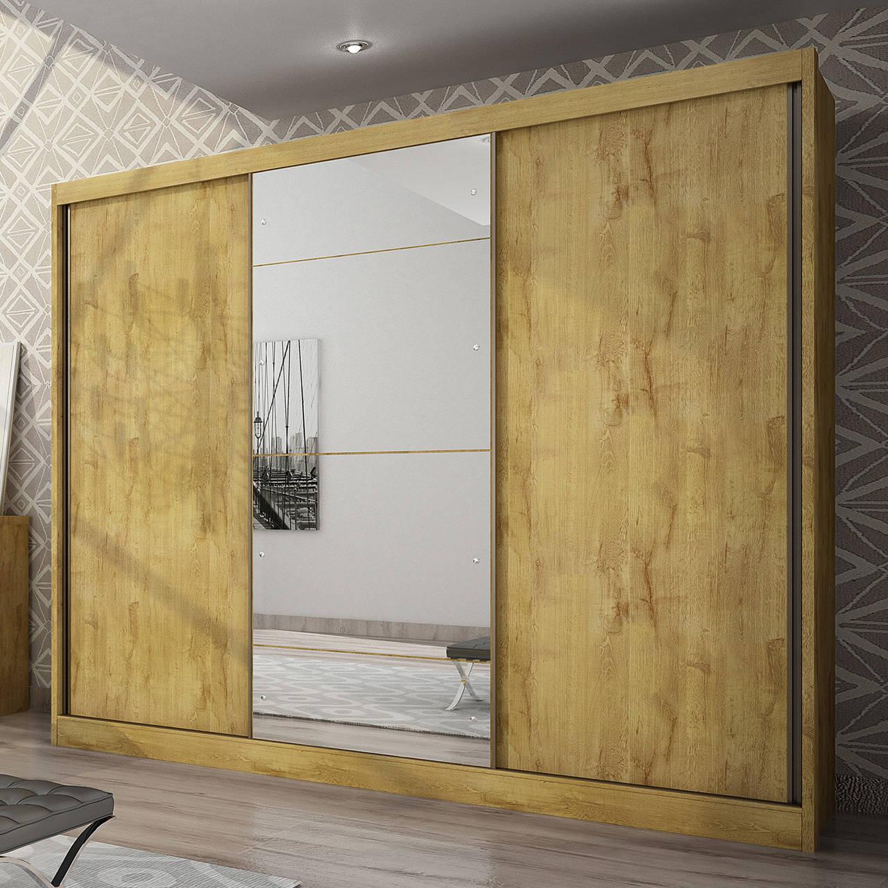 Guarda Roupa Casal com Espelho, 3 Portas e 6 Gavetas Natus Gold Novo Horizonte