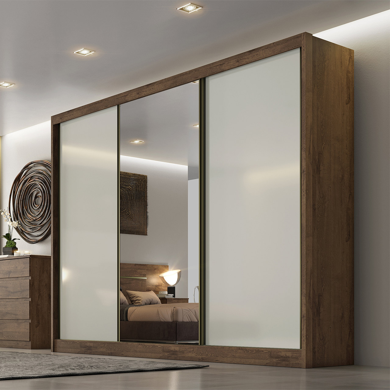 Guarda Roupa Casal com Espelho, 3 Portas e 6 Gavetas Sollo Novo Horizonte