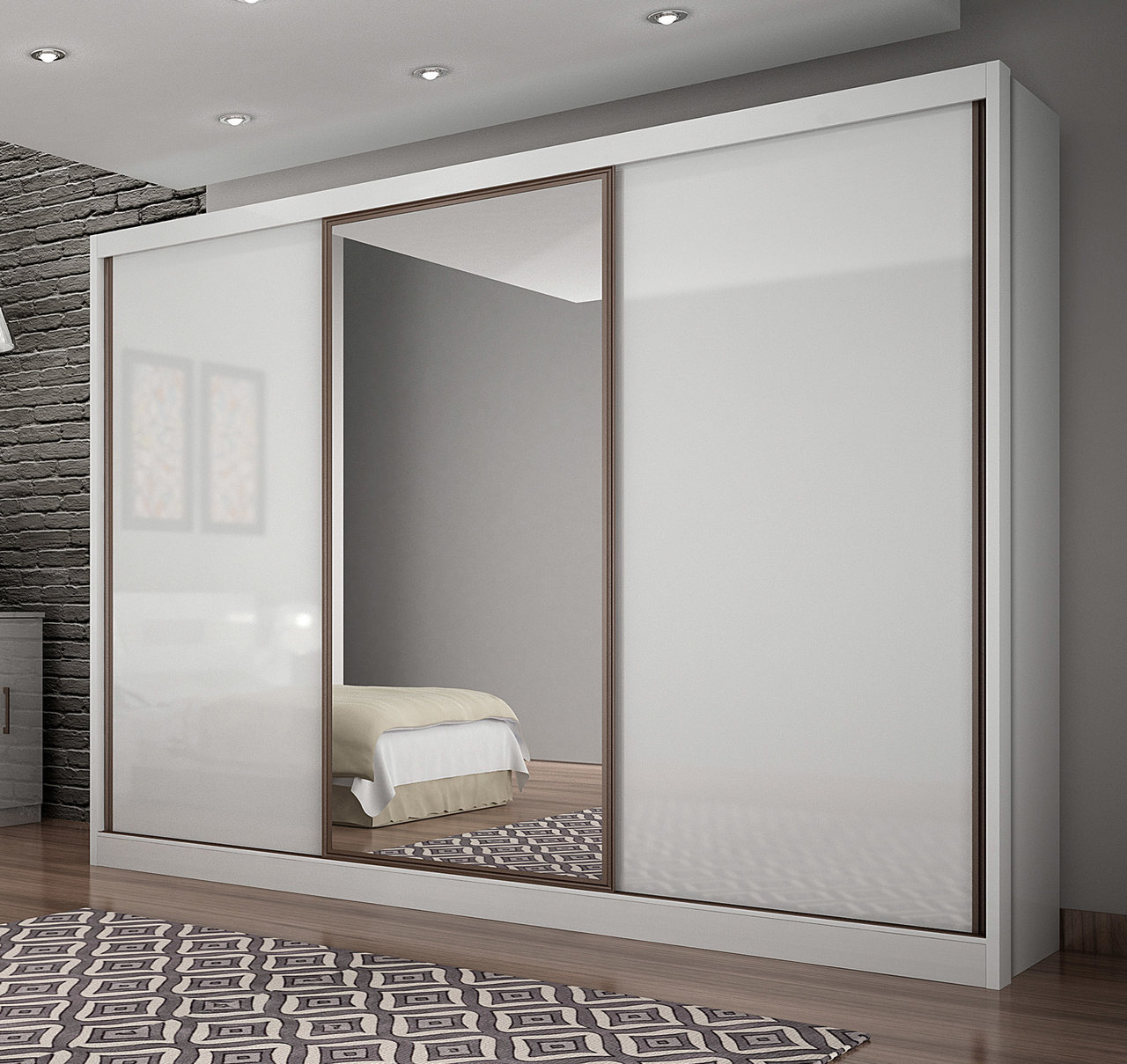 Guarda Roupa Casal com Espelho, 3 Portas e 6 Gavetas Spazzio Novo Horizonte