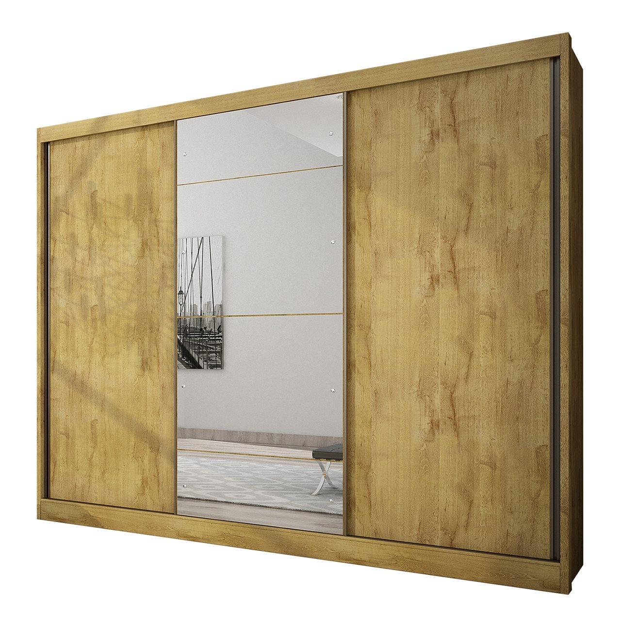 Guarda Roupa Casal com Espelho, 3 Portas e 8 Gavetas Natus Gold Novo Horizonte
