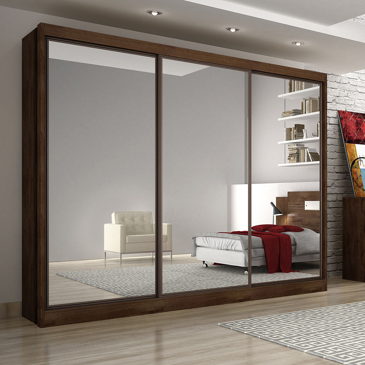 Guarda Roupa Casal com Espelhos, 3 Portas e 6 Gavetas Alfeu Gold Novo Horizonte