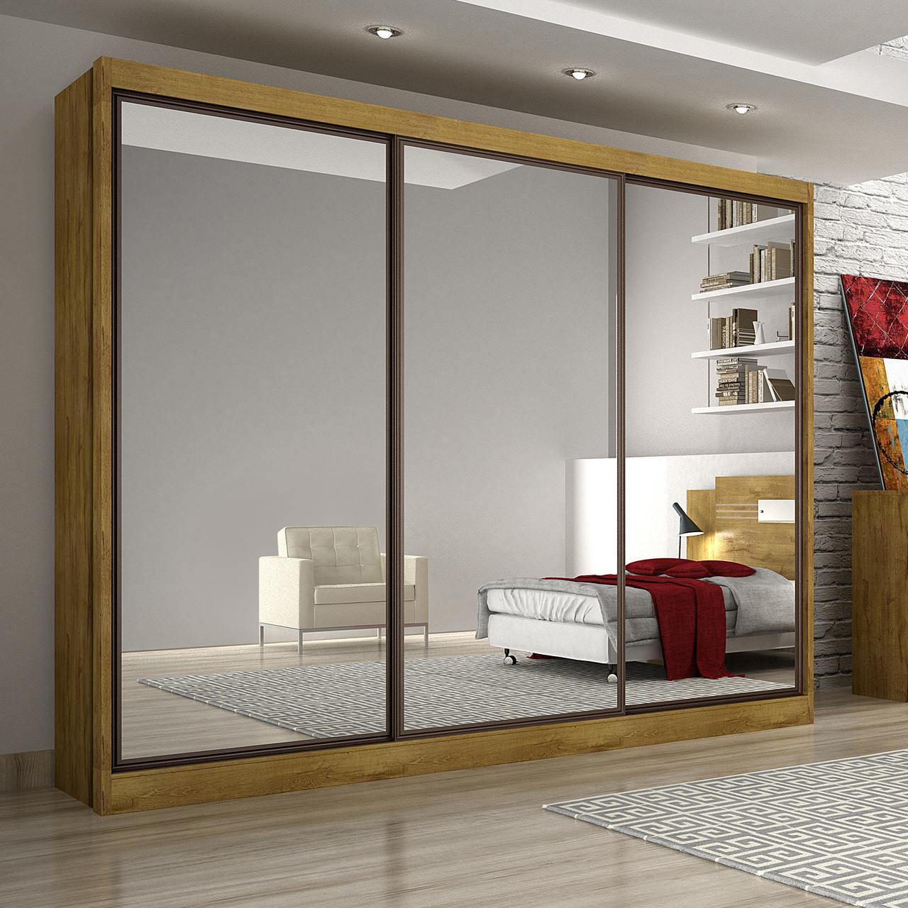 Guarda Roupa Casal com Espelhos, 3 Portas e 8 Gavetas Alfeu Gold Novo Horizonte