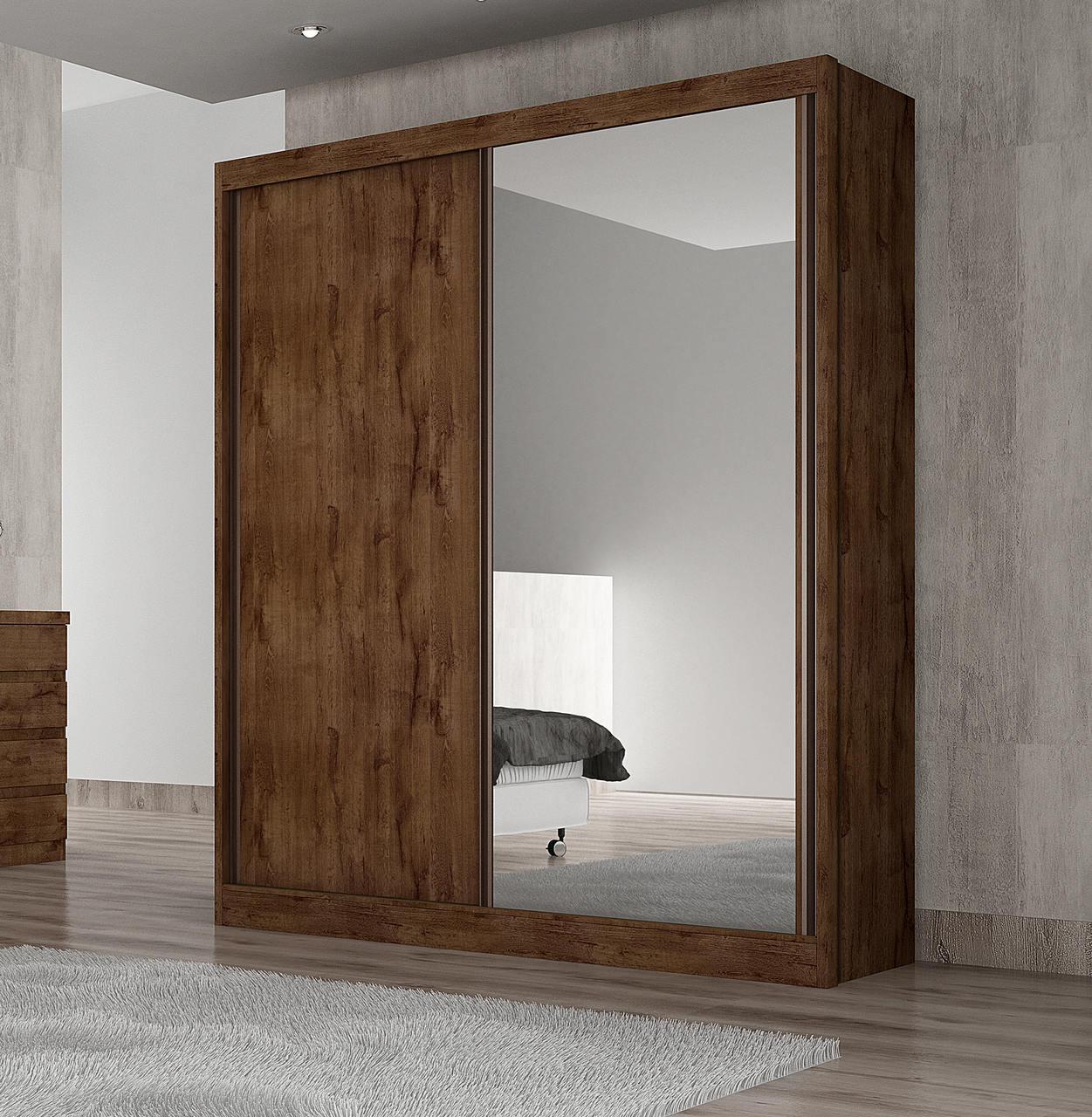 Guarda Roupa Solteiro com Espelho 2 Portas de Correr Virtus Novo Horizonte