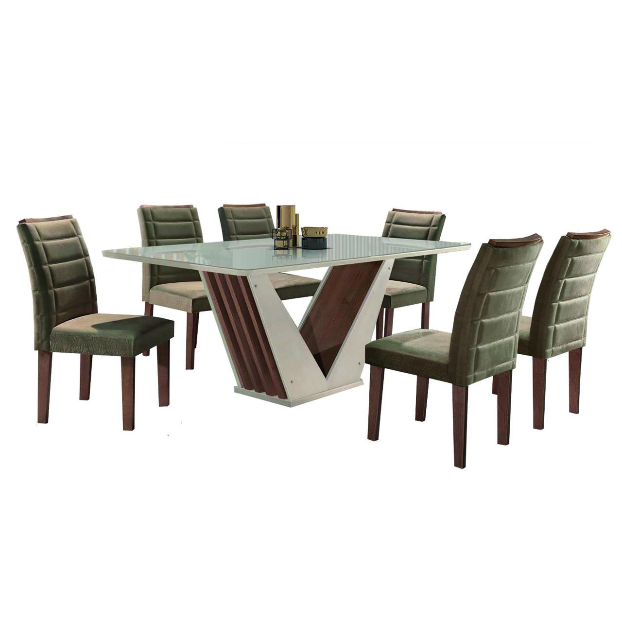 Mesa de Jantar Vegas Tampo 170 com 6 Cadeiras Florença Off White Chocolate