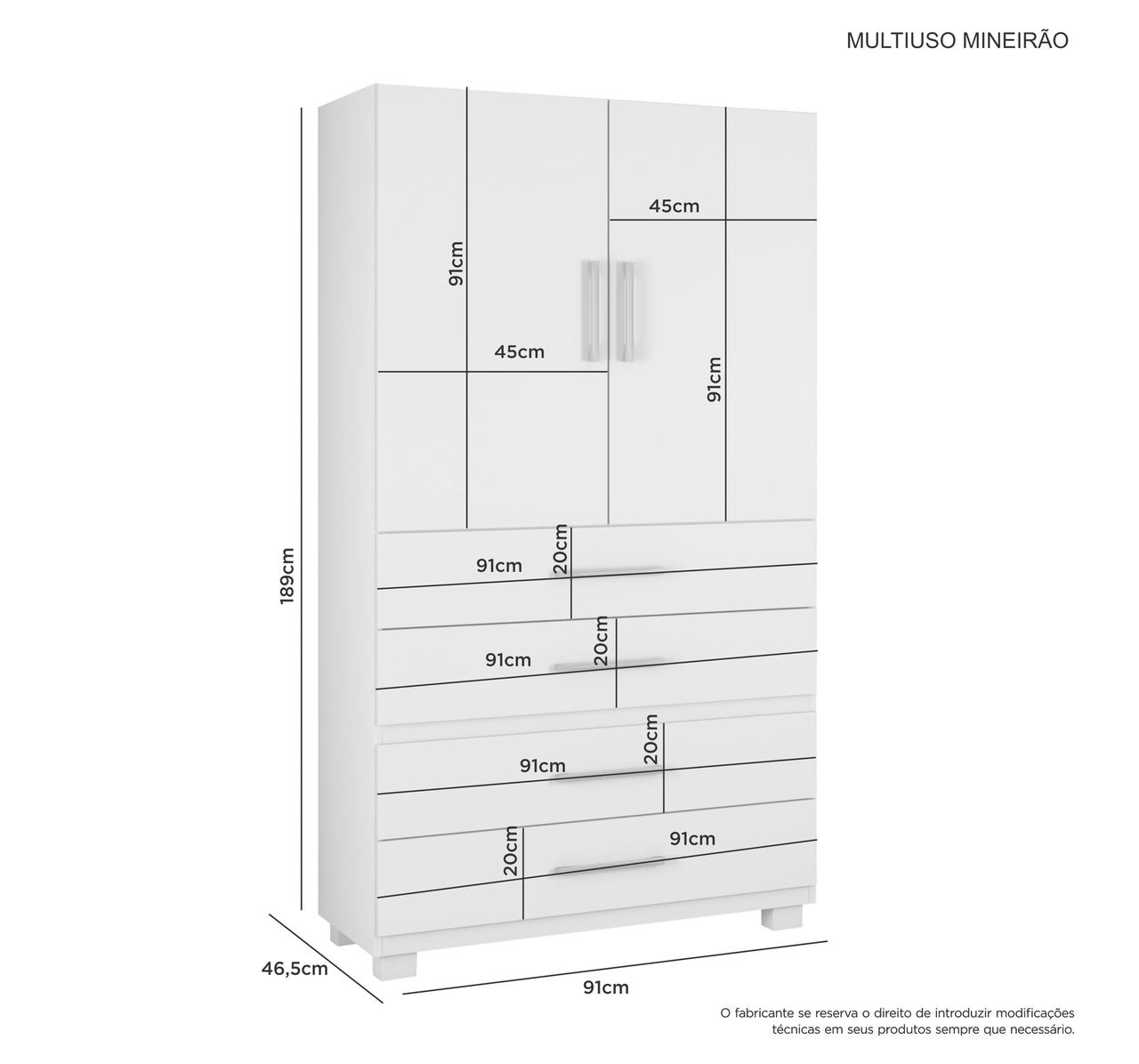 Multiuso 2 Portas e 4 Gavetas Mineirão Jcm Movelaria