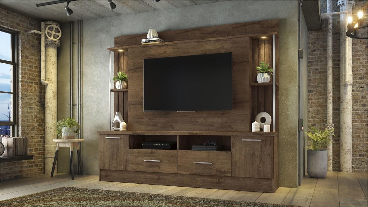 Painel Home para TV até 65 Polegadas 2 Gavetas 2 Portas Afeto JCM