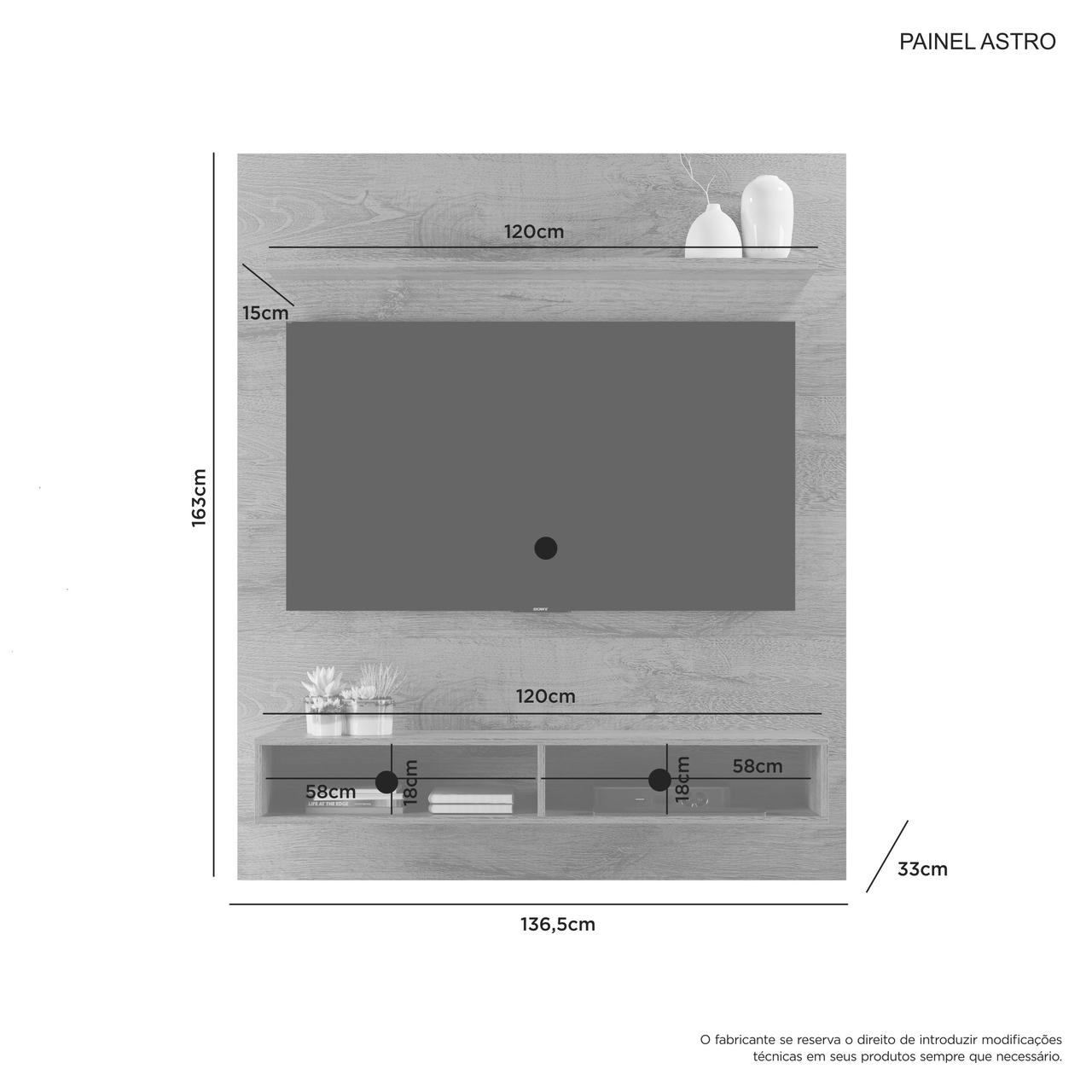 Painel para Tv até 55 Polegadas Astro Candian JCM Móveis