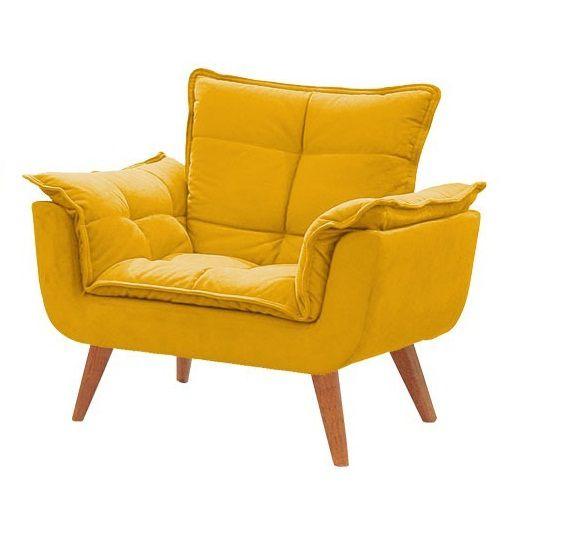 Poltrona Decorativa Opala Amarela para sala de estar quarto escritório
