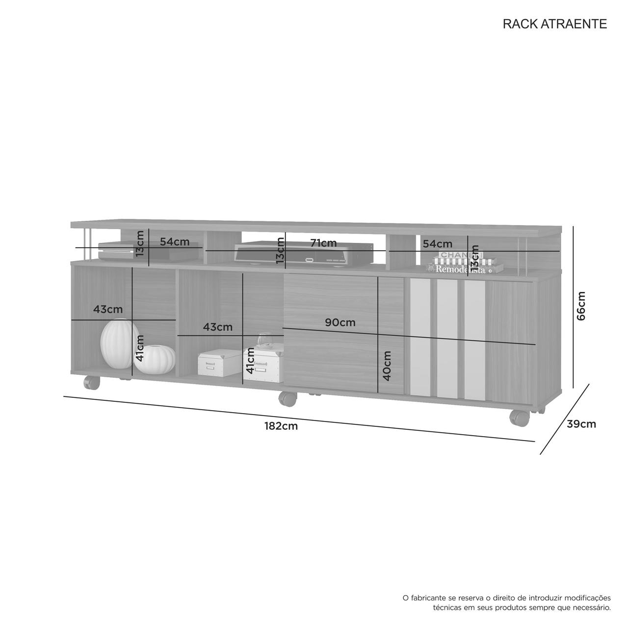 Rack Atraente para  TV de até 75 Polegadas Jcm Móveis