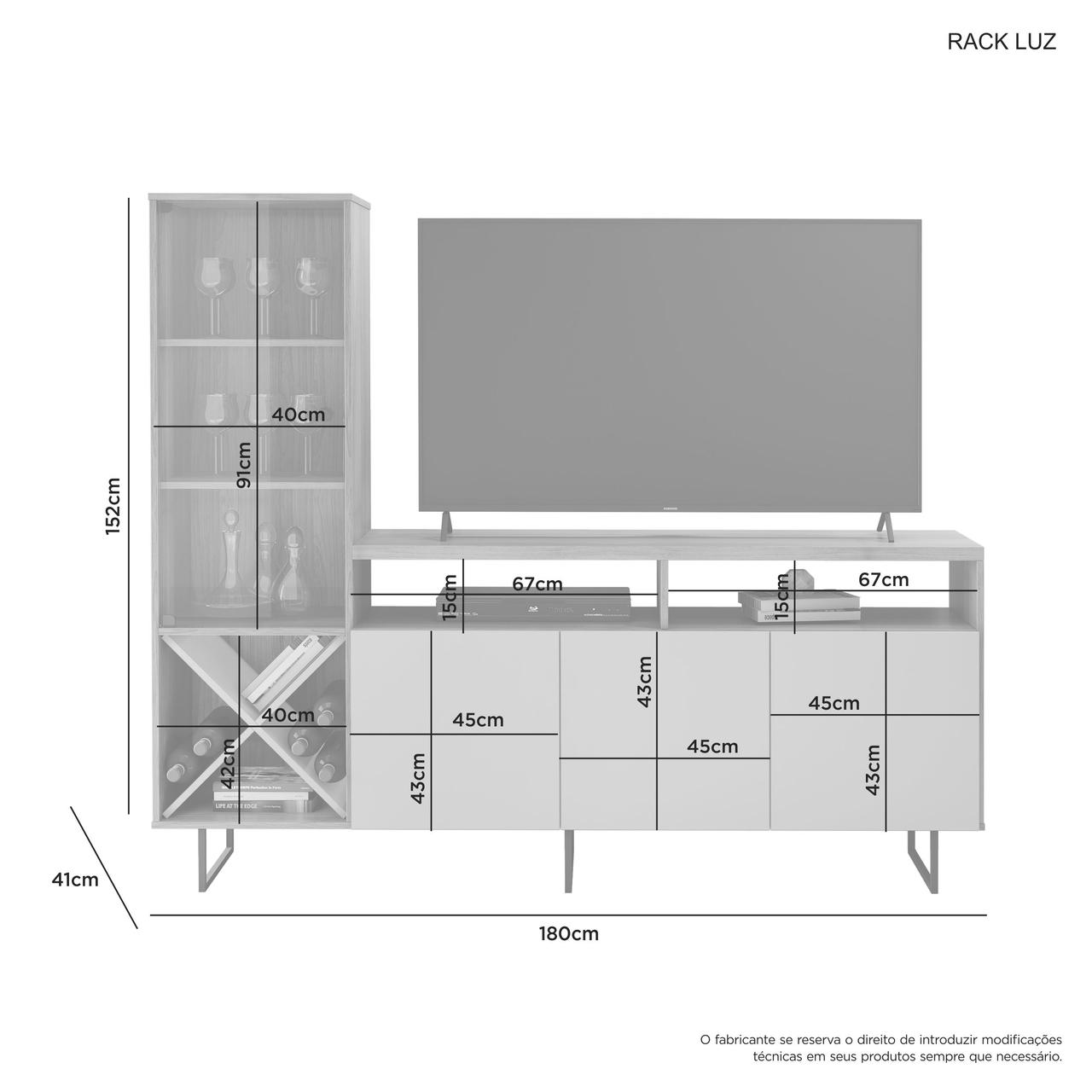 Rack para TV de Até 56 Polegadas 3 Portas 6 Nichos com Cristaleira 2 Prateleiras Luz  JCM Móveis