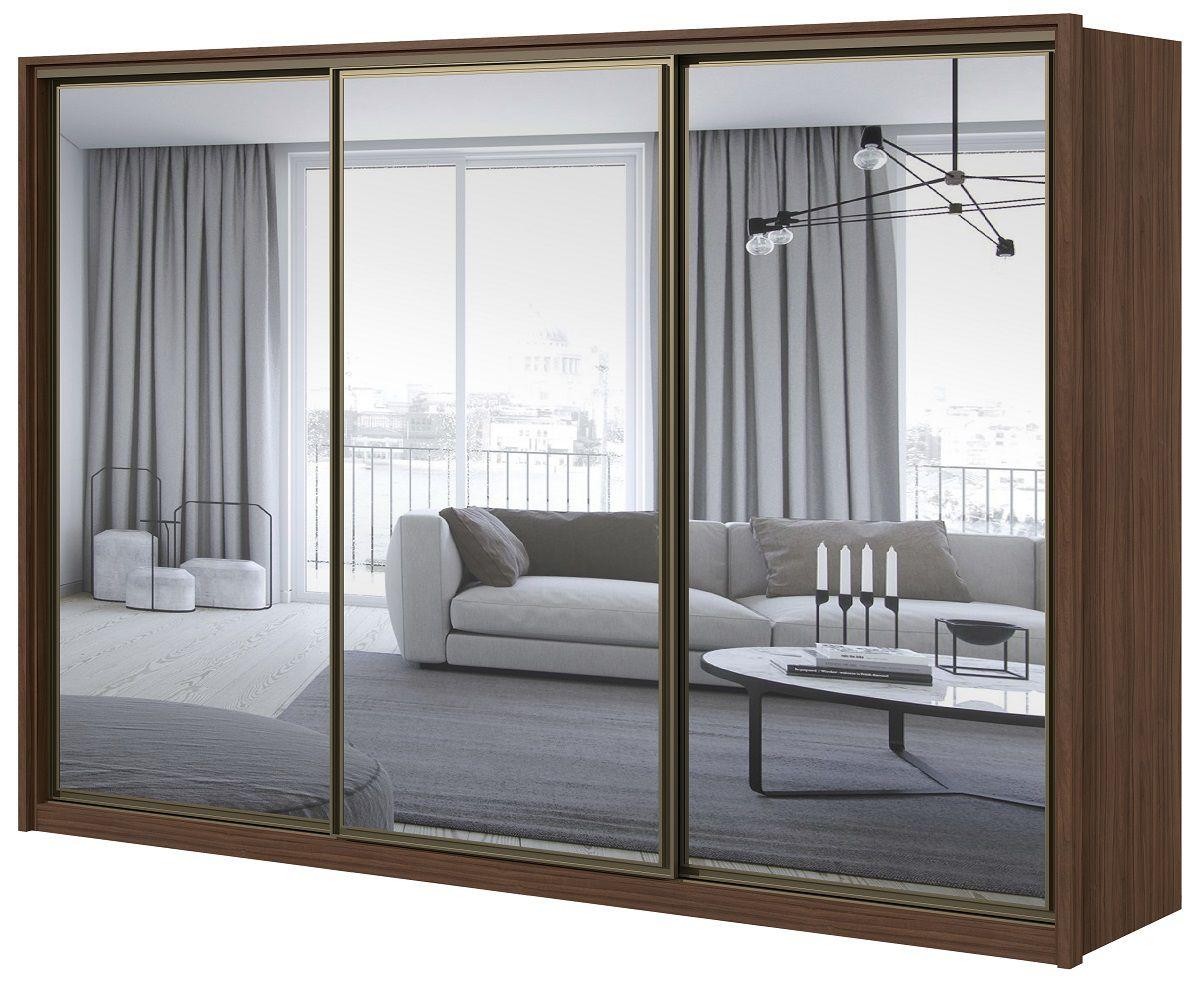 Guarda Roupa Casal com 3 Espelhos 3 Portas de Correr 6 Gavetas Spazzio Super Glass