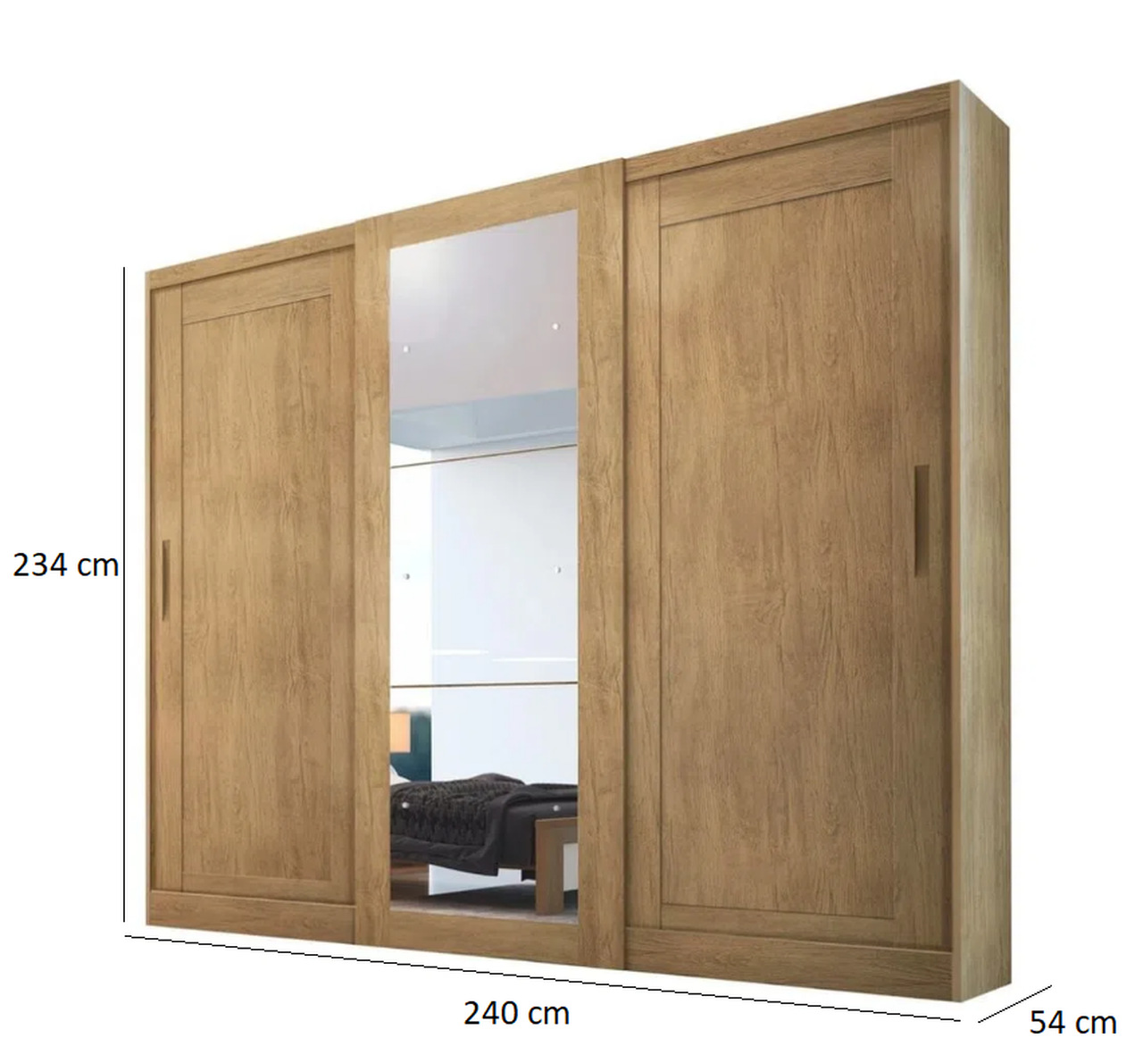 Roupeiro Suécia 3 Portas Com Espelho Móveis Rufato