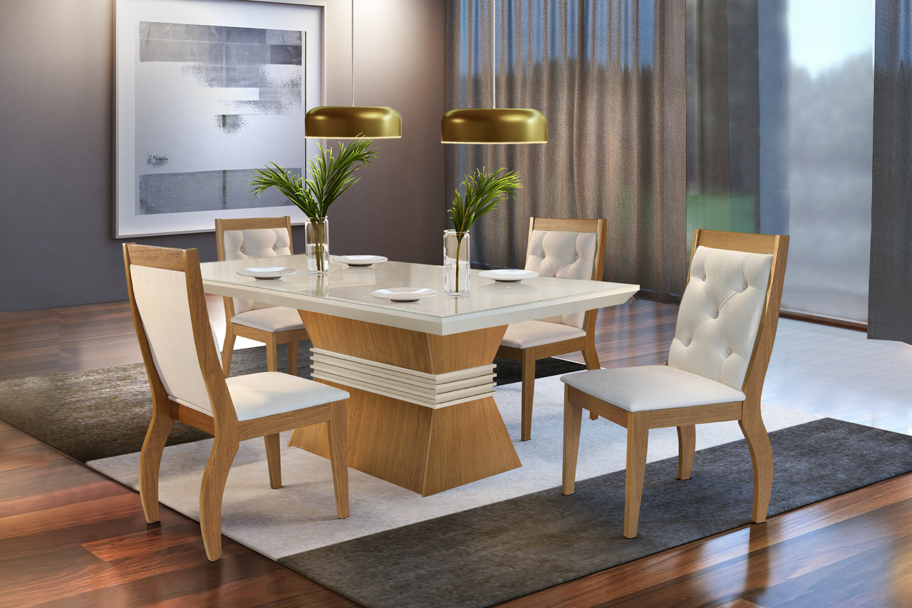Sala de Jantar Agata com 4 Cadeiras Agata Creme  Móveis Rufato