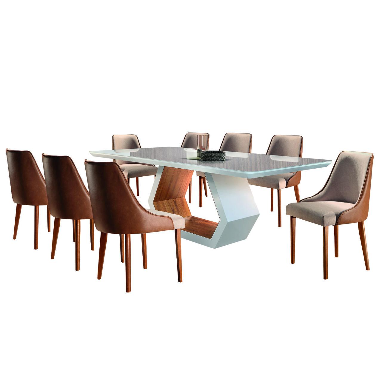 Sala de Jantar Ane com 8 Cadeiras Esmeralda