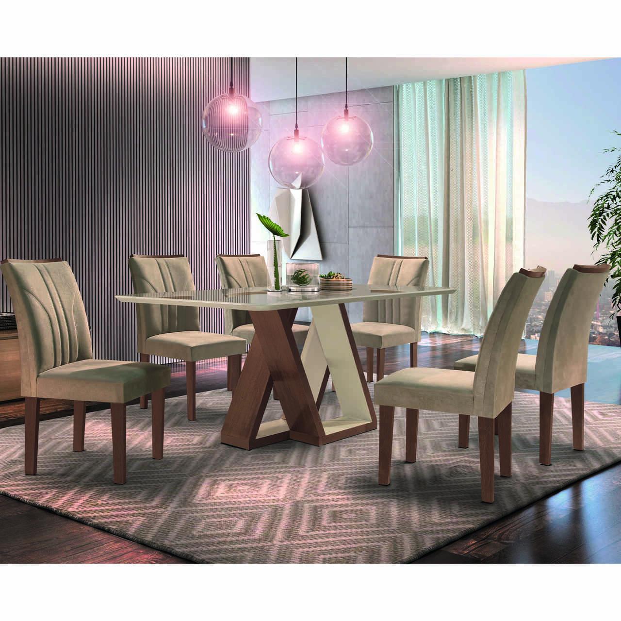 Sala de Jantar Belle Tampo Smart Plus com 6 Cadeiras Belle  Cel Móveis